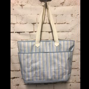 This Winnie The Pooh Bear Blue Gingham Diaper Bag
